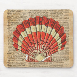 Red and White Ocean Sea Shell Dictionary Book Page Mouse Pad