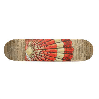 Red and White Ocean Sea Shell Dictionary Book Page Skateboard Deck