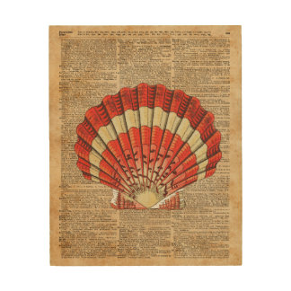 Red and White Ocean Sea Shell Dictionary Book Page Wood Print