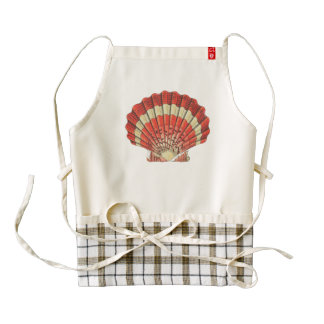 Red and White Ocean Sea Shell Dictionary Book Page Zazzle HEART Apron