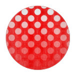 Red and White Ombre Polka Dots Cutting Board