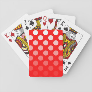 Red and White Ombre Polka Dots Poker Cards