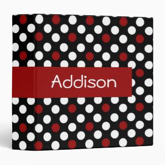 Red and White on Black Polka Dot Binder