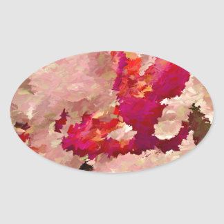 Red and White Orchid Abstract Oval Sticker