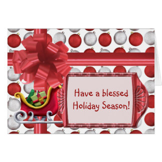 Red and White Ornaments Card