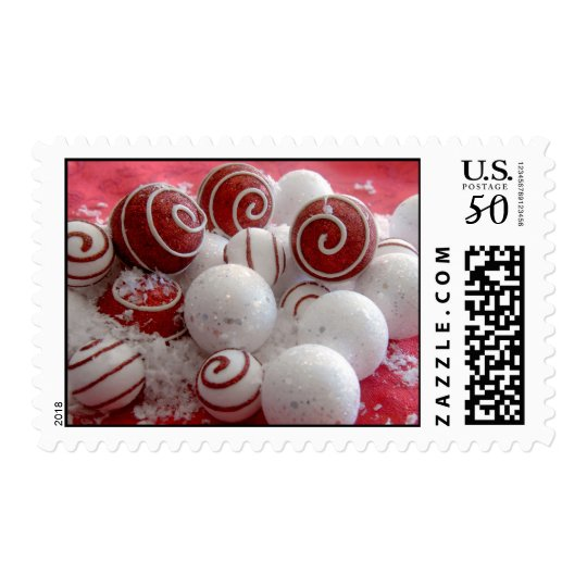 Red and White Ornaments Christmas Postage