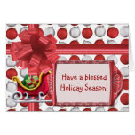 Red and White Ornaments Greeting Cards