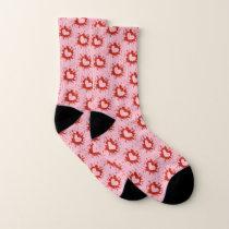 Red And White Paint Splatter Heart Pattern Socks