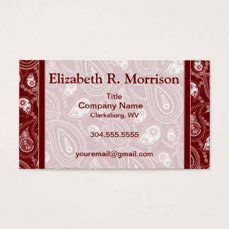 Red and White Paisley Business Card