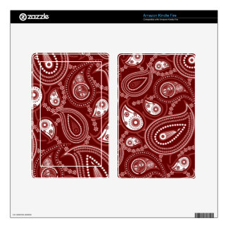 Red and White Paisley Decal For Kindle Fire