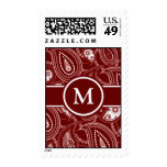Red and White Paisley Postage Stamp