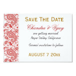 Red and white paisley Save the date wedding Card