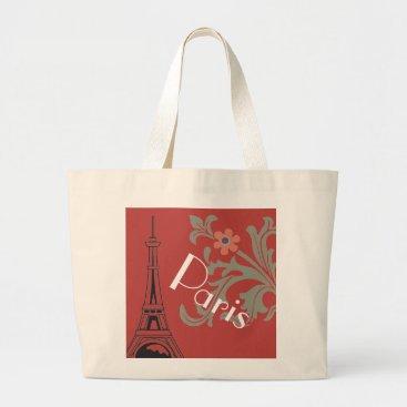 Beach Themed Red  And White Paris Graphic Shopping Or Beach Bag