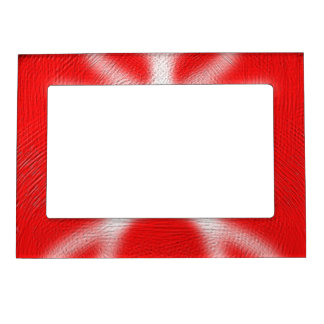 Red and white pattern photo frame magnets
