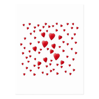 Red and White Pattern of Love Hearts. Postcard