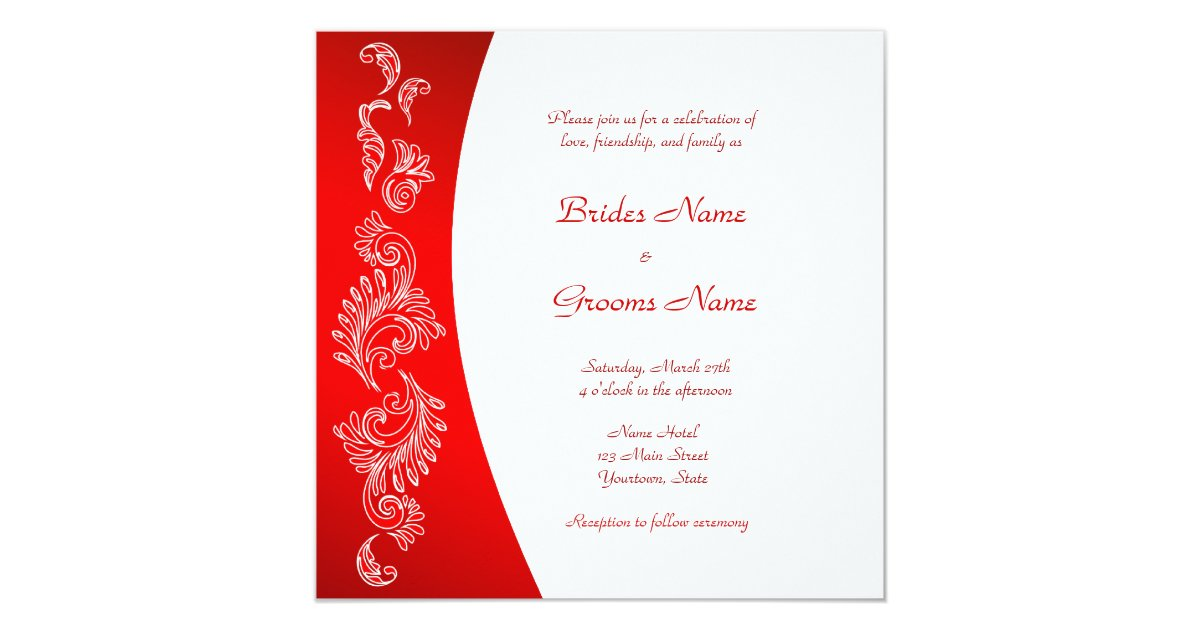 White And Red Wedding Invitations: Red And White Pattern Wedding Invitation