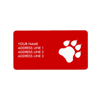 Red And White Paw With Text - Choose Your Color Label