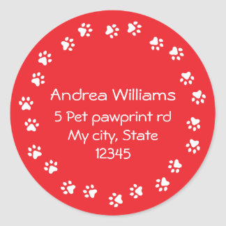 Red and white pawprint border address classic round sticker