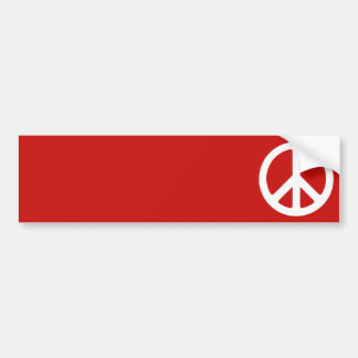 Red and White Peace Symbol Car Bumper Sticker