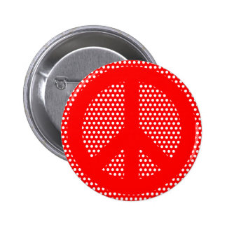 Red and White Peace Symbol Button