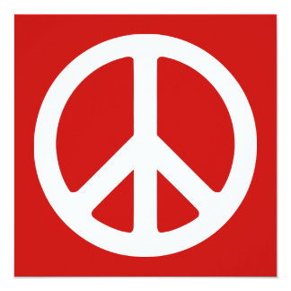 Red and White Peace Symbol Card