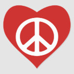 Red and White Peace Symbol Heart Sticker