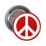 Red and White Peace Symbol Pinback Button