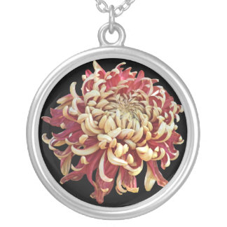 Red and White Peony Flower Round Pendant Necklace