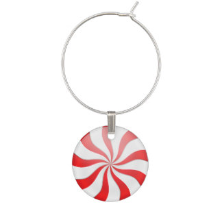 Red and White Peppermint Candy Christmas Wine Glass Charm
