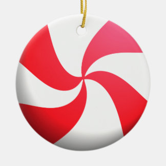 Red and White Peppermint Candy Double-Sided Ceramic Round Christmas Ornament