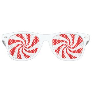 Red and White Peppermint Candy Swirl Retro Sunglasses