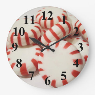 Red and White Peppermints Large Clock
