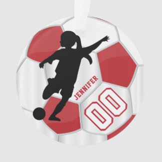 Red and White Personalize Girl Soccer Player Ornament