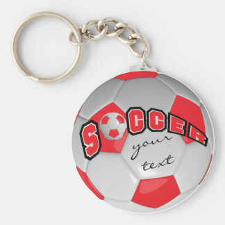 Red and White Personalize Soccer Ball Basic Round Button Keychain
