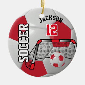 Red and White Personalize Soccer Ball Ceramic Ornament