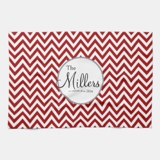 Red and White Personalized Dish Towel