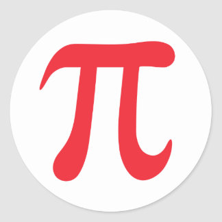 Red and white pi mathematical symbol stickers