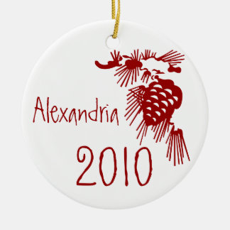 Red and White Pine Cone Customizable Ornament