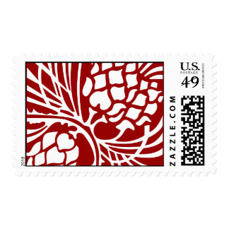 Red and White Pinecone Postage