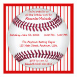 Red and White Pinstripes Baseball Birthday Party Custom Invite