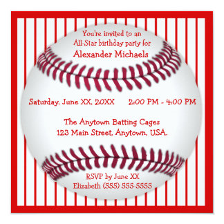 Red and White Pinstripes Baseball Birthday Party 5.25x5.25 Square Paper Invitation Card