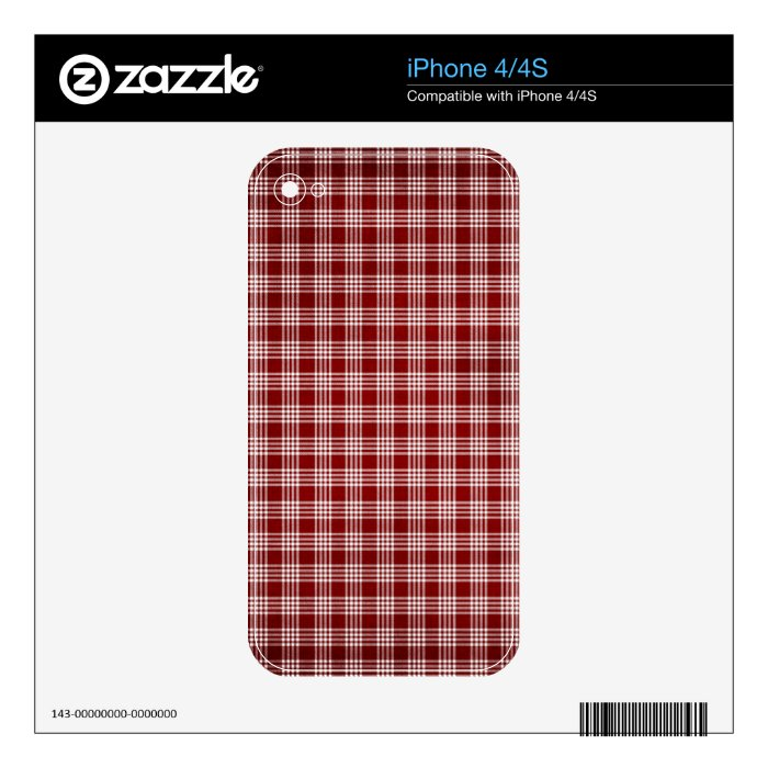 Red and White Plad Skins For iPhone 4