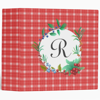 Red and White Plaid Berry Wreath Monogrammed Binder