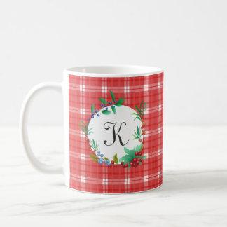 Red and White Plaid Berry Wreath Monogrammed Coffee Mug