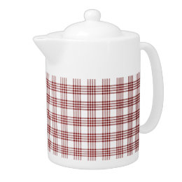 Red and White Plaid Teapot