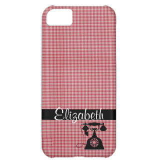 Red and White Plaid with Antique Telephone Cover For iPhone 5C