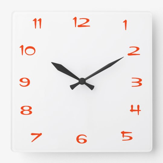 Red And White Plain Square Kitchen Wall Clock