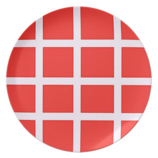 Red and White Plate