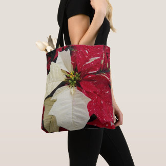 Red and White Poinsettia Floral Tote Bag
