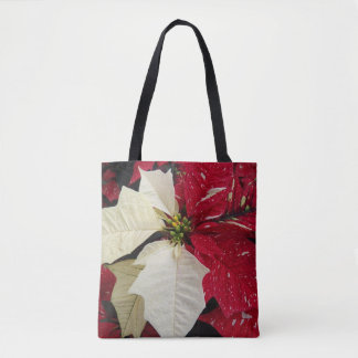 Red and White Poinsettia Holiday Floral Tote Bag